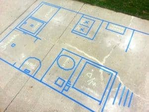 Example life-size tape floorplan