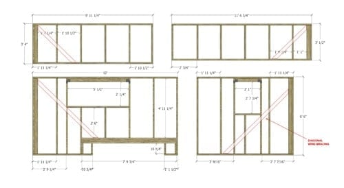 tiny house floor plan wall framing sample
