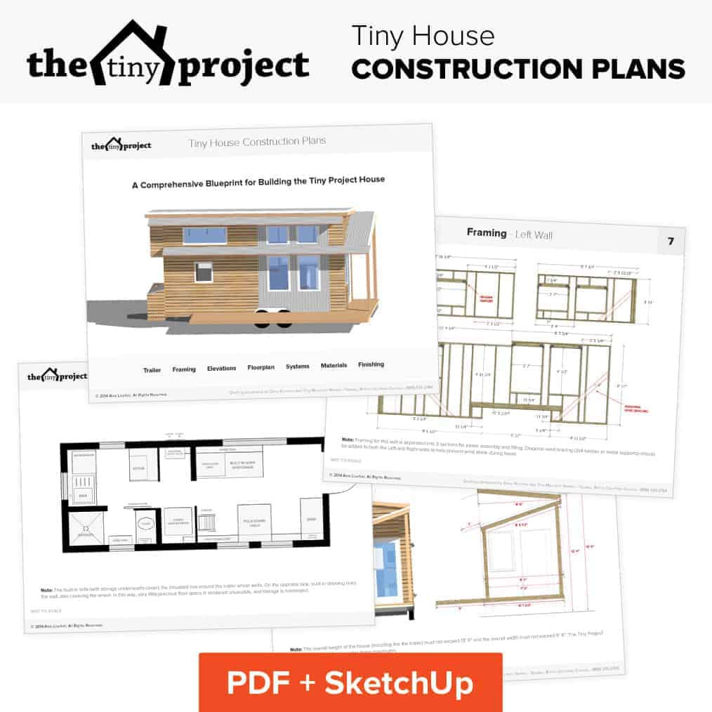Tiny house on wheels floor plans blueprint for construction for Tiny home construction plans