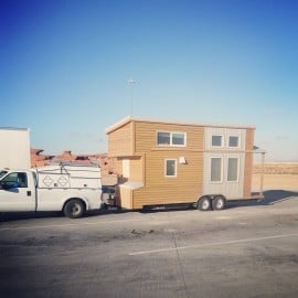 towing tiny house on a trailer