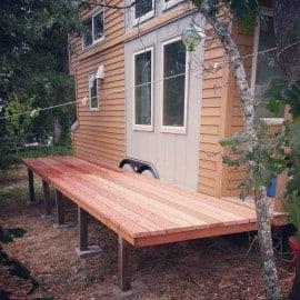 tiny house redwood decking