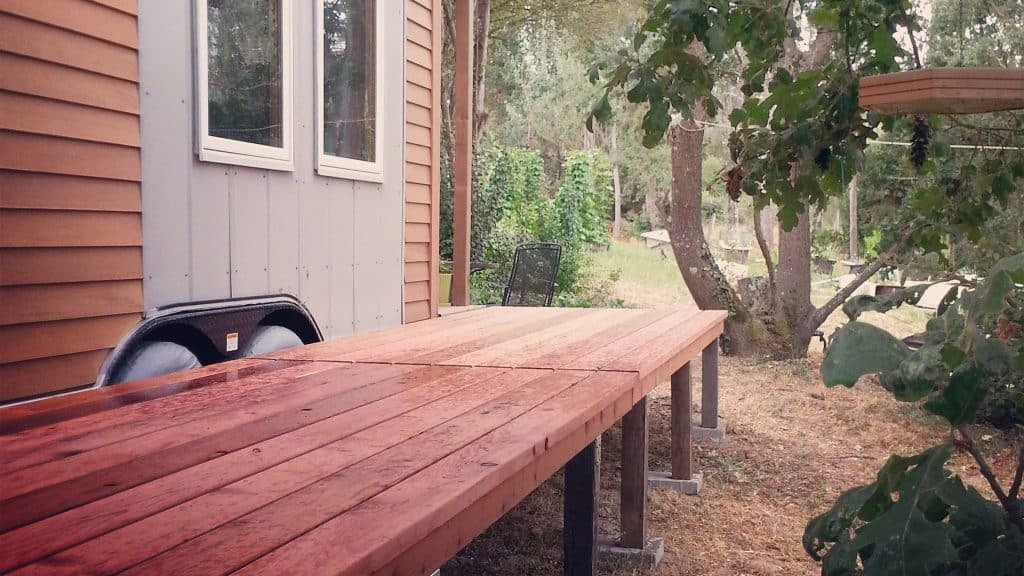 Redwood deck tiny house project buy redwood for Redwood vs composite decking