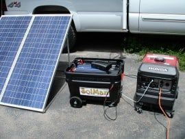 A SolMan Action Packer with separate folding solar array, and inter-tied Honda gas generator, creating a hybrid system.