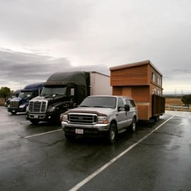 Ford F350 towing the Tiny Project house